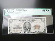$100 1929((MINNEAPOLIS))FEDERAL RESERVE NATIONAL CURRENCY UNC NOTE**PCGS 63PPQ**