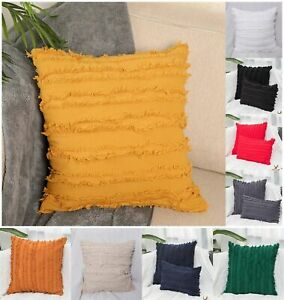 Fringe Stripes Cotton linen Cushion Covers Fringe-adorned Decorative Pillowcases