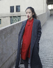 Chinese collar vintage red cotton padded dress coat ethnic design cloth women M