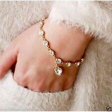 18K Gold Filled Bracelet Bangle love heart charm Austrian crystals 200mmRP$69.99