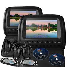 "Black 2X Twin Car Headrest Multi-Media DVD Player 9"" HD Screen Game IR Headphone"