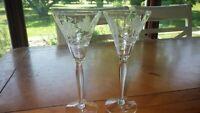 Etched Small Wine Glasses Cordial Liqueur glasses optic panel bulb stem 2 4 oz