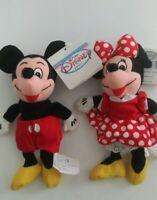 "Disney Store Mini Bean Bag Plush Toy Mickey and Minnie Mouse 8"""