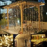 96/300 LED Icicle Fairy String Lights Xmas Outdoor Ice Lamp Curtain Home Decor