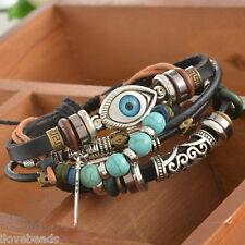 Unisex Punk Ethnic Black Adjustable Leather Bracelet Evil Eye Feather Charm LSM