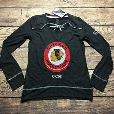 Adidas CCM NHL Womens Small Chicago Blackhawks Centennial Skate Lace Top NEW