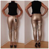 Skinny Jeans goldfarben metalliclook Röhre Leggings Röhrenjeans (#1995)