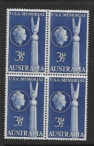 1955 Australia USA Friendship 3½ d Block of 4  Stamps MUH/MNH