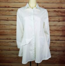 Dorman Tunic Top Blouse Size M White Button Front Cotton Pockets Roll Tab Slv