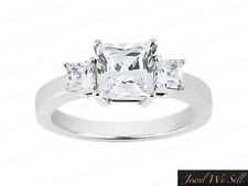 Real 1ct Princess Diamond Past Present Future Gallery Ring 18K White Gold G SI1