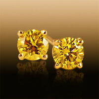 MOISSANITE 1.60 CT. ORECCHINI GIALLO 6.00 mm. ARGENTO 925 SUPERIORE AL DIAMANTE