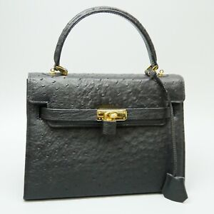 Genuine Ostrich Leather Hand Bag Satchel Purse Black with Padlock and Key