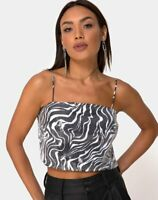 MOTEL ROCKS Champo Crop Top in Trippy Zebra Clear Sequin Small S   (mr100)