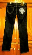 "DEREON BLACK SILVER EMBROIDERED SRAIGHT LEG JEANS 32"" WAIST X 32.25"" INSEAM EUC"