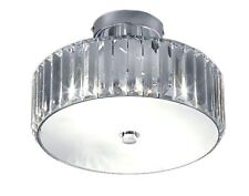 Kliving Hesketh Chrome Clear Acrylic Two Light Fitting Ceiling Light Shade