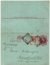 1892 QV 1d red/carmine Letter Card LCP1 Paddington squared circle to Germany+1½d