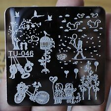 Manicure Template Nail Art Printing Image Polish Stamp Plate Bicycle Sweet TU46