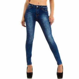 Trendy Damen Jeans Stonewashed Hose Röhre Skinny Blau S M L 36 38 40 Neu