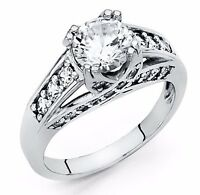 2.25 Ct Round Cut Engagement Ring Bridal Wedding Solid 14K White Gold