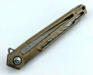 Wharncliffe Folding Knife Pocket Hunting Survival Damascus Steel Titanium Handle