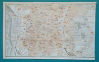 "SPAIN MADRID Town City Plan - 1913 Baedeker Map 8.5 x 14"" (21 x 36 cm)"