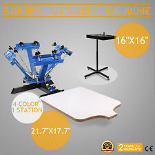 New Set 4 Color 1 Station Screen Printer Kit Machine Press Equipment Flash Dryer