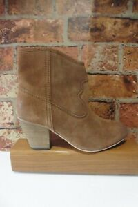 FAT FACE TAN SUEDE COWBOY WOMENS ANKLE BOOTS SIZE UK 6