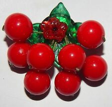 ARTIST CHERRY PIN BROOCH Glass Leaves & Red LUCITE Dangles NEW DESIGN