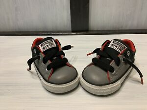 Converse All Star Baby Size 4C Gray/Black/Red. Great Deal!!!