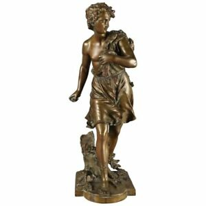 Antique French Figural Cast Bronze Diana Portrait Sculpture Signed Bouret