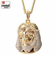 """Men's Fashion Hip Hop 14k Gold Plated Jesus Pendant 30"""" Cuban Chain Necklace"""