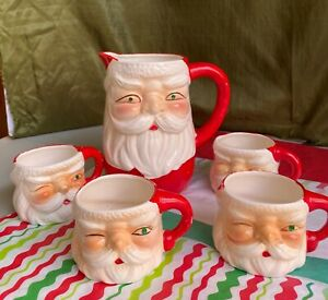 Vintage Jeweled Eye Santa Pitcher And Mugs-Set of 5,1960s,Retro,Christmas