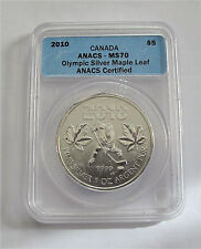 2010 Vancouver Olympic Hockey $5 dollars Silver Maple Leaf  MS70