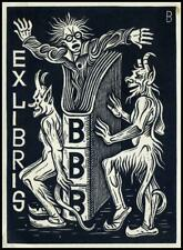 Baruch Josef 1935 Exlibris X2 Bookplate Devil Teufel Diabeł 48