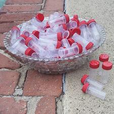 "50 Mini Plastic 2"" Tube 1/4oz Vial JARS Container Powder RED CAPS 2209 DecoJars"