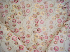 9+Y KRAVET / LEE JOFA  EMBROIDERED ROSEWOOD FLORAL LINEN UPHOLSTERY FABRIC