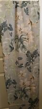 Gray/Blue Fabric Shower Curtain Tropical Print Used in Excellent Condition