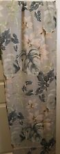 Light Blue Fabric Shower Curtain Tropical Print Used in Excellent Condition