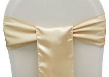 100 Cream Satin Sashes Chair Cover Bow Sash for Wedding - UK SELLER - FREE SHIP