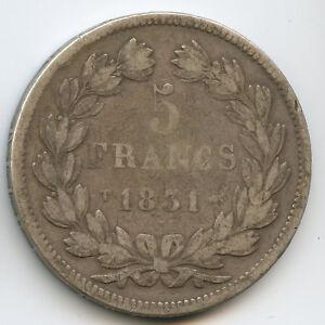 Louis-Philippe (1830-1848) 5 Francs Tête laurée 1831 T Nantes Tr. en relief