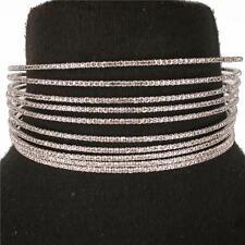 "14"" silver crystal 10 row cuff choker collar necklace multi strand bridal prom"
