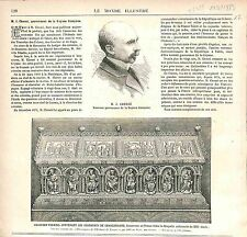 Henri Isidore Chessé Gouverneur Guyane / Ossements Charlemagne GRAVURE 1883