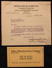 Original 1910 Rowland & Co. Railroad Supplies Letterhead w/Leaflet Columbia SC