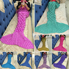 Kids Adult Mermaid Tail Handmade Crocheted Cocoon Quilt Rug Knit Lapghan Blanket
