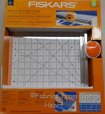 "Fiskars Rotary Cutter & Ruler 12""X12"" Acrylic 45mm Blade for Fabric 2 in 1 Tool"