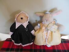 Two Cute Muffy Plush One a Bear and a Rabbit