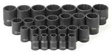 26-Piece 1/2 in. Drive 12-Point Metric Standard Impact Socket Set GRY-1726M New!