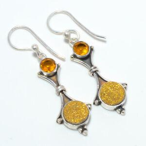 "Golden Agate Drusy & Citrine Gemstone 925 Sterling Silver Earring 1.76"" T3032"