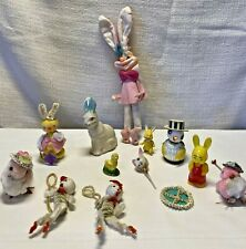Vintage Lot of 15 Chenille Pipe Cleaner Chalkware Bunny Rabbits Chicks Easter