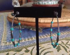"""Turquoise Bead Bounce Hoop Earrings 2"""" New listing Gurhan 24K Gold And Blackened Ss"""